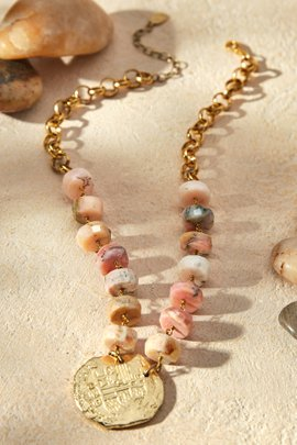 Stone and Coin Necklace