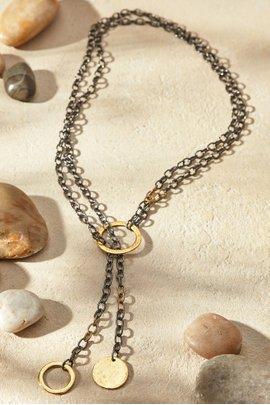 Chain & Disc Wrap Necklace
