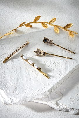 Crystal & Pearl Hair Pin Set of 4