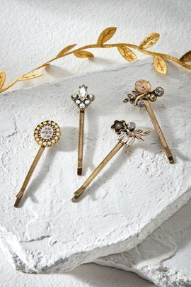 Crystal & Flower Hair Pin Set of 4