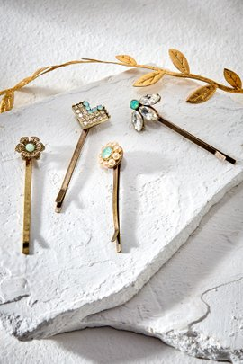 Crystal & Bead Hair Pin Set of 4