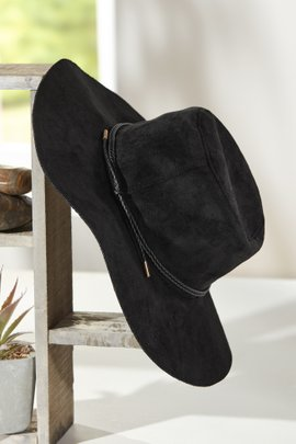 Faux Suede Wide Brim Hat