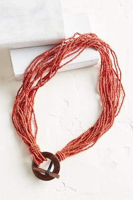 Bead and Wood Stretch Belt