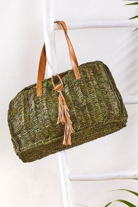 Straw-Leather Market Tote