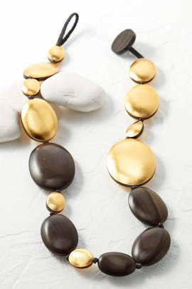 Gold and Wood Necklace--Long