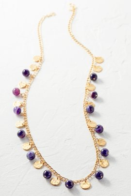 Agate Bead/Satin Gold Coin Necklace