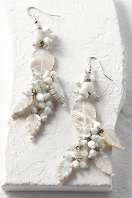 Mother of Pearl Leaf Drop Earrings
