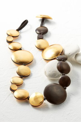 Gold and Wood Necklace--Short