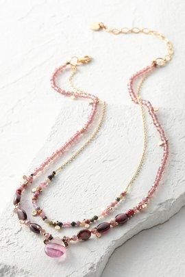 Teardrop Pendant Double Layer Necklace