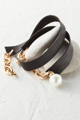Leather Wrap Pearl Charm Bracelet