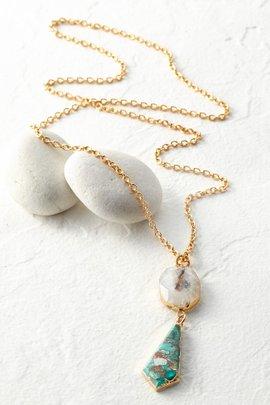 Mosaic Stone Pendant Necklace