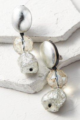 Metallic Nugget and Crystal Earrings