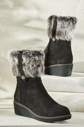 Faux Fur Wedge Boot