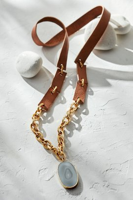 Leather & Stone Chain Necklace