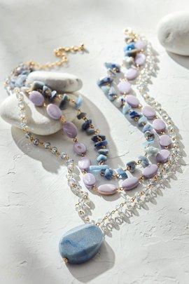 Layered Stone Pendant Necklace