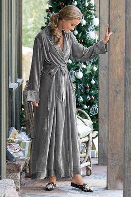 Womens Silk and Velvet Robe