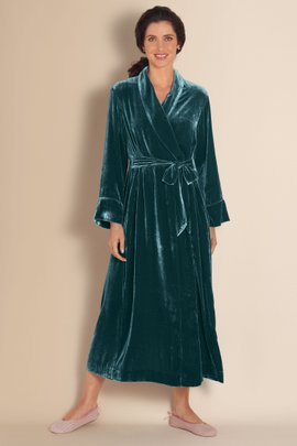 Womens Silk and Velvet Robe