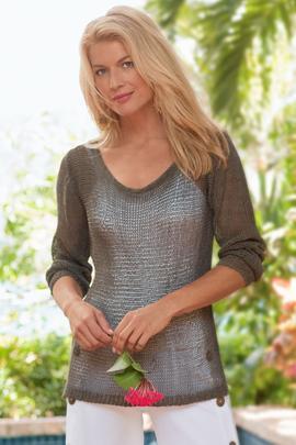 Open-Weave Knit Sweater