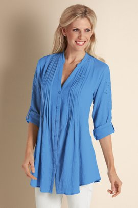 Petites Embroidered Gauze Shirt