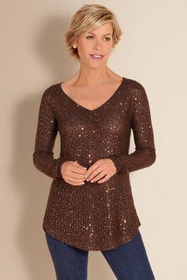 Womens Sequin Sweater