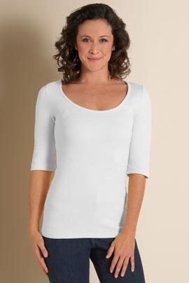 Elbow Length Scoop Neck Tee