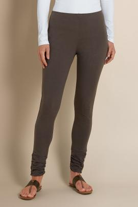 Womens Ruched Cuff Knit Leggings