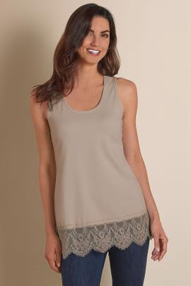 Scalloped Lace Edge Tank Top