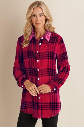 Plaid Velvet Big Shirt