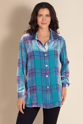 Plaid Velvet Big Shirt