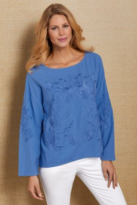 Embroidered Roses Gauze Top