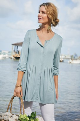 Petra Button Front Top