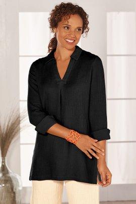 Soft Surroundings Alessa Blue  V-neck Blouse Button Front Shirt NEW 2X 3X
