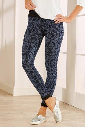 Fur Lined Print Leggings
