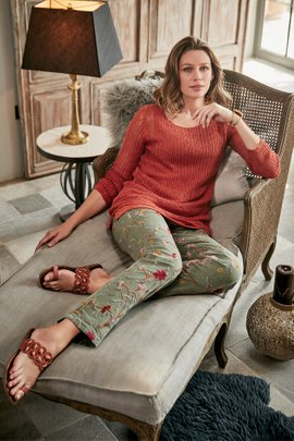 Women Tesori Embroidered Denim Pants