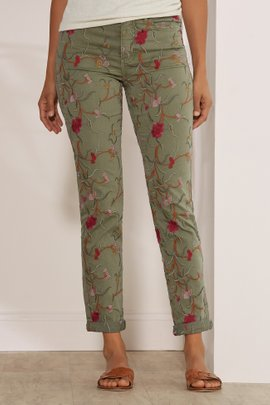 Tesori Embroidered Denim Pants