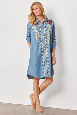 Floral Embroidered Shirtdress