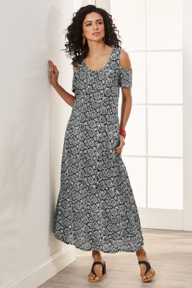Batik Cold Shoulder Dress