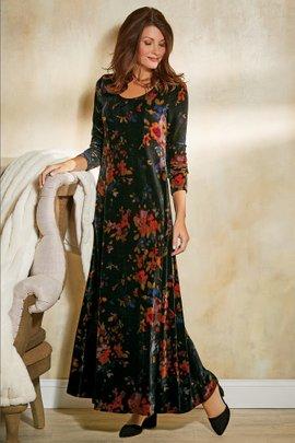 Printed Velvet Santiago Dress