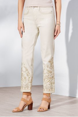 The Ultimate Straight Cropped Embroidered Paisley Jeans