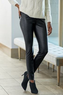Faux Leather High-Rise Skinny Pants