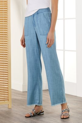 Fringe Bottom Wide Leg Jeans