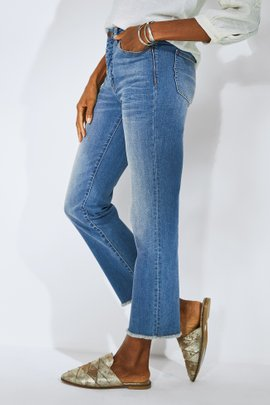 The Ultimate High-Rise Frayed-Hem Crop Jeans