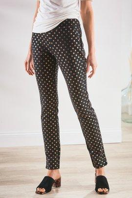 Perfect Ponte Pull-On Metallic Dot Skinny Ankle Pants