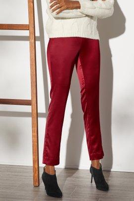 Satin Pull-On Skinny Ankle Pants