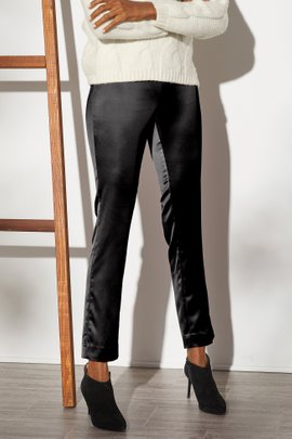 Satin Pull-On Skinny Ankle Pants