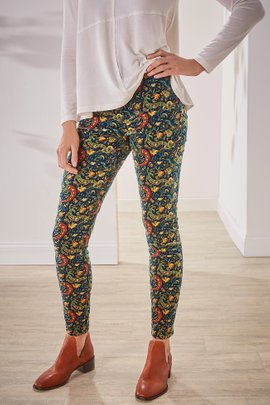 Corduroy Printed High-Rise Skinny Pants