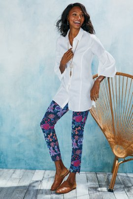 Printed Superla Stretch Ankle Zip Pants