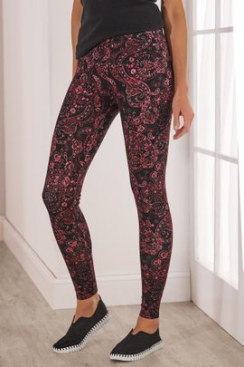 Superslim Red Paisley Leggings