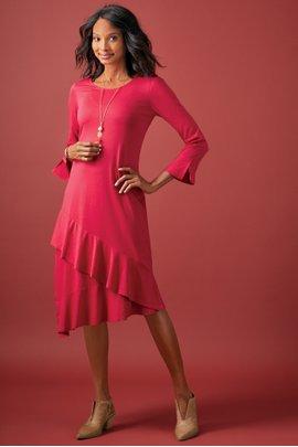 Lucia Solid Flounce Dress