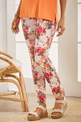 Superla Stretch Pull-On Watercolor Floral Skinny Ankle Pants